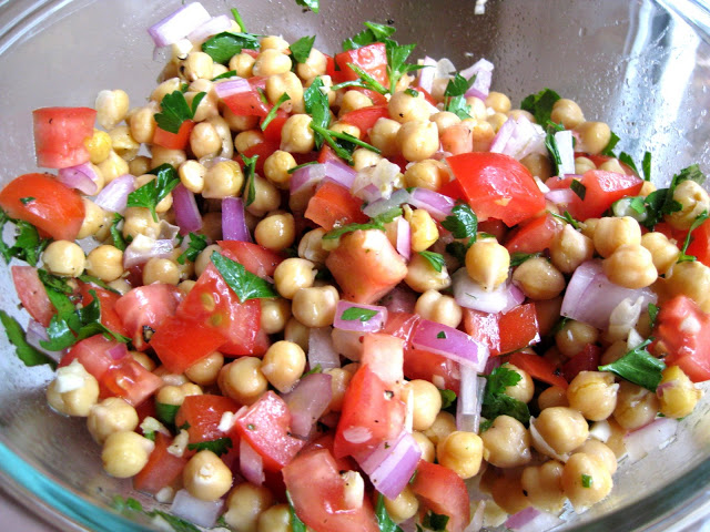 Chickpea Salad with Red Onion and Tomato | A Hint of Honey