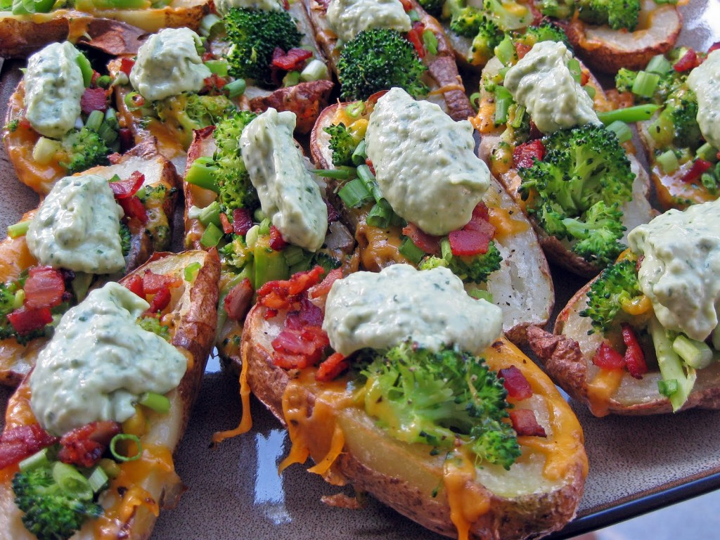 Cheddar Broccoli Loaded Baked Potato Skins with Avocado Creme | A Hint ...
