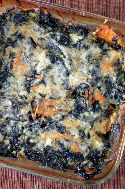 Swiss Chard and Sweet Potato Gratin | A Hint of Honey