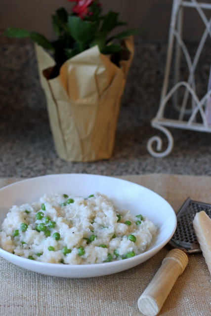 oven baked risotto with peas