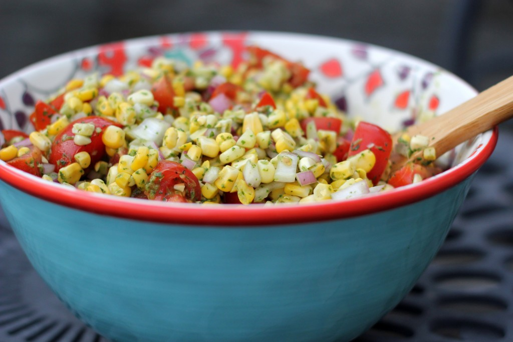Charred Corn Salad with Basil Vinaigrette | A Hint of Honey