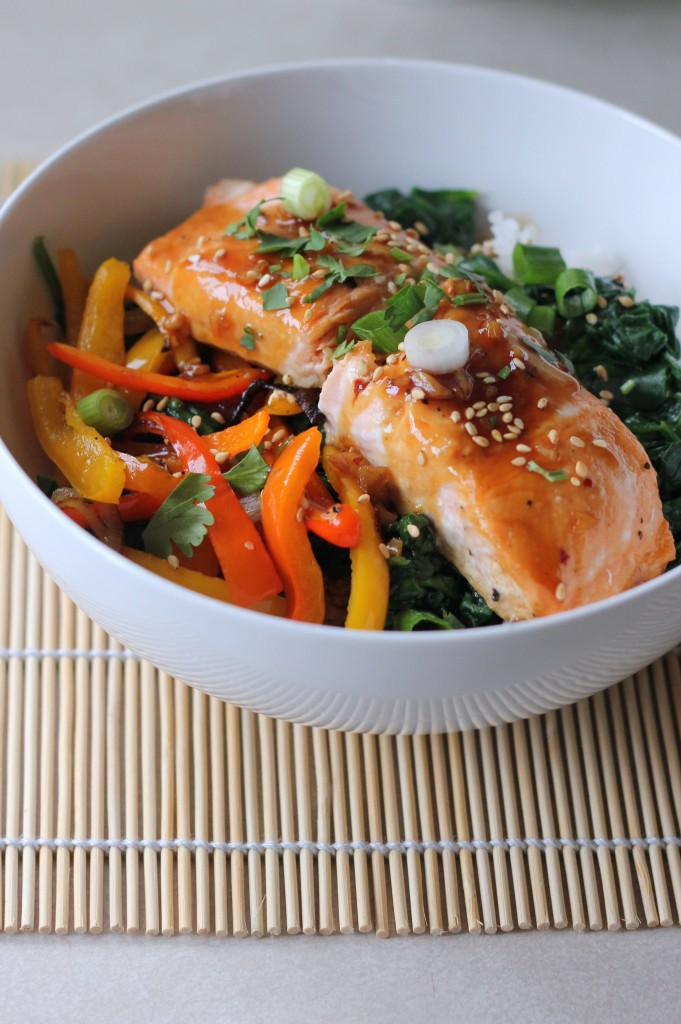 Salmon Rice Bowl With Maple Lime Glaze A Hint Of Honey