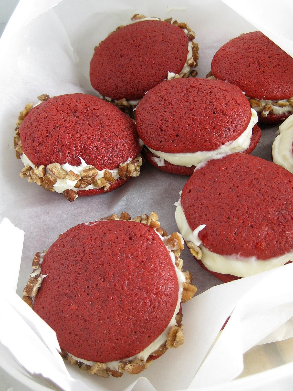 Red Velvet Whoopie Pies with Cream Cheese Frosting | A Hint of Honey