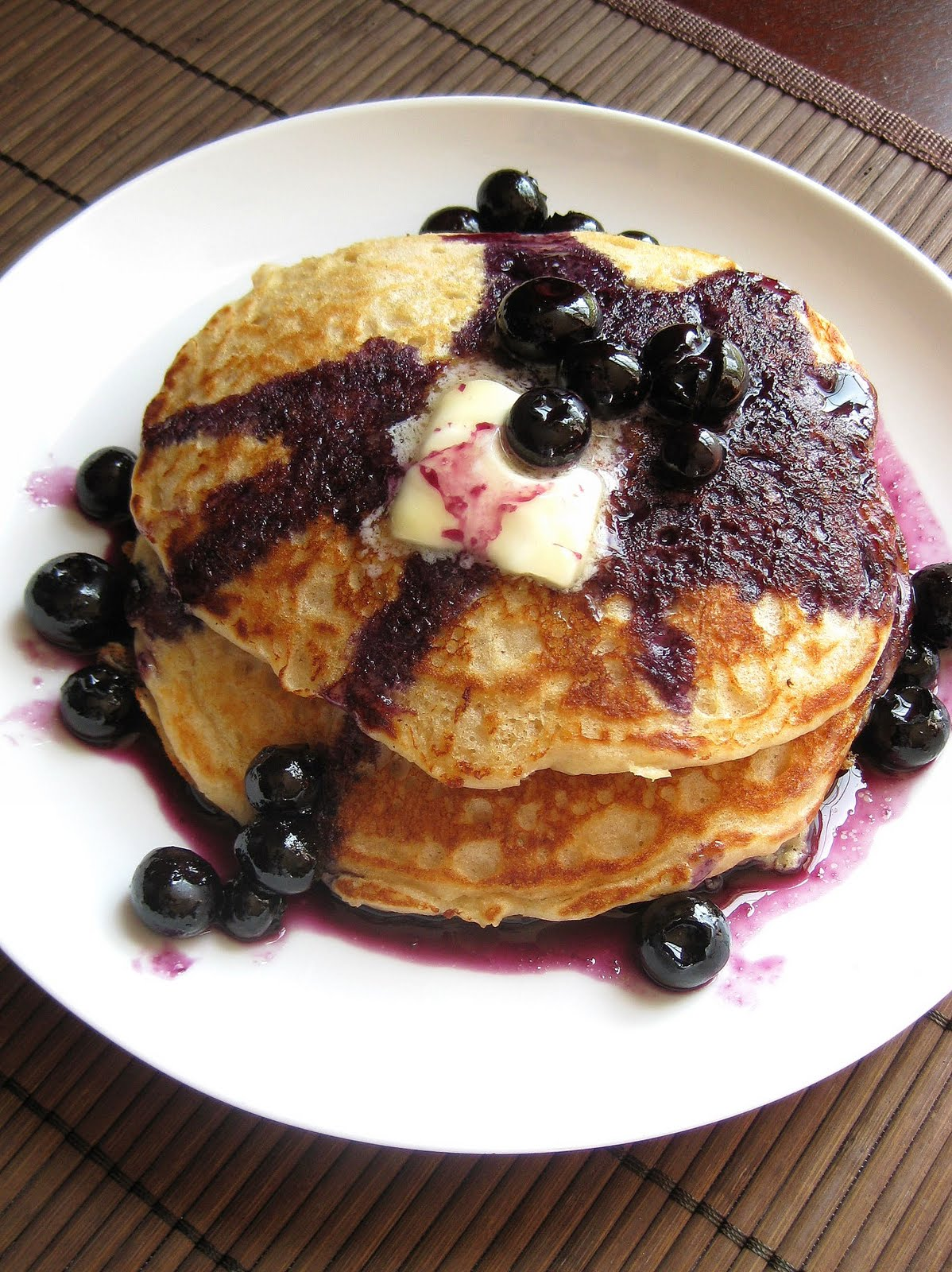 Whole Wheat Buttermilk Pancakes with Blueberry Maple Syrup | A Hint of ...
