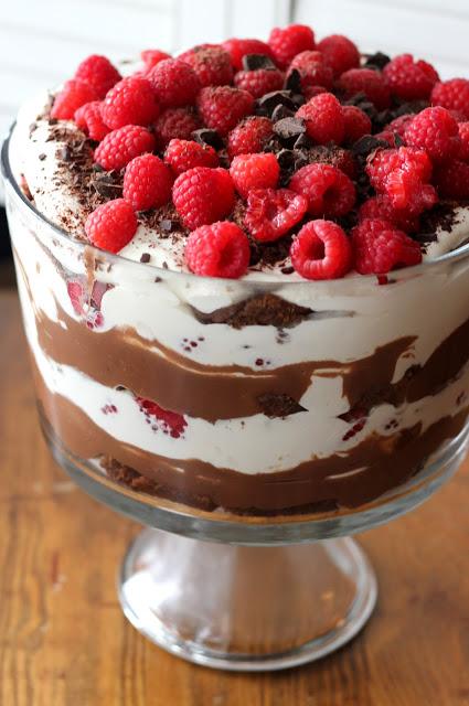 Triple Chocolate Trifle With Raspberries