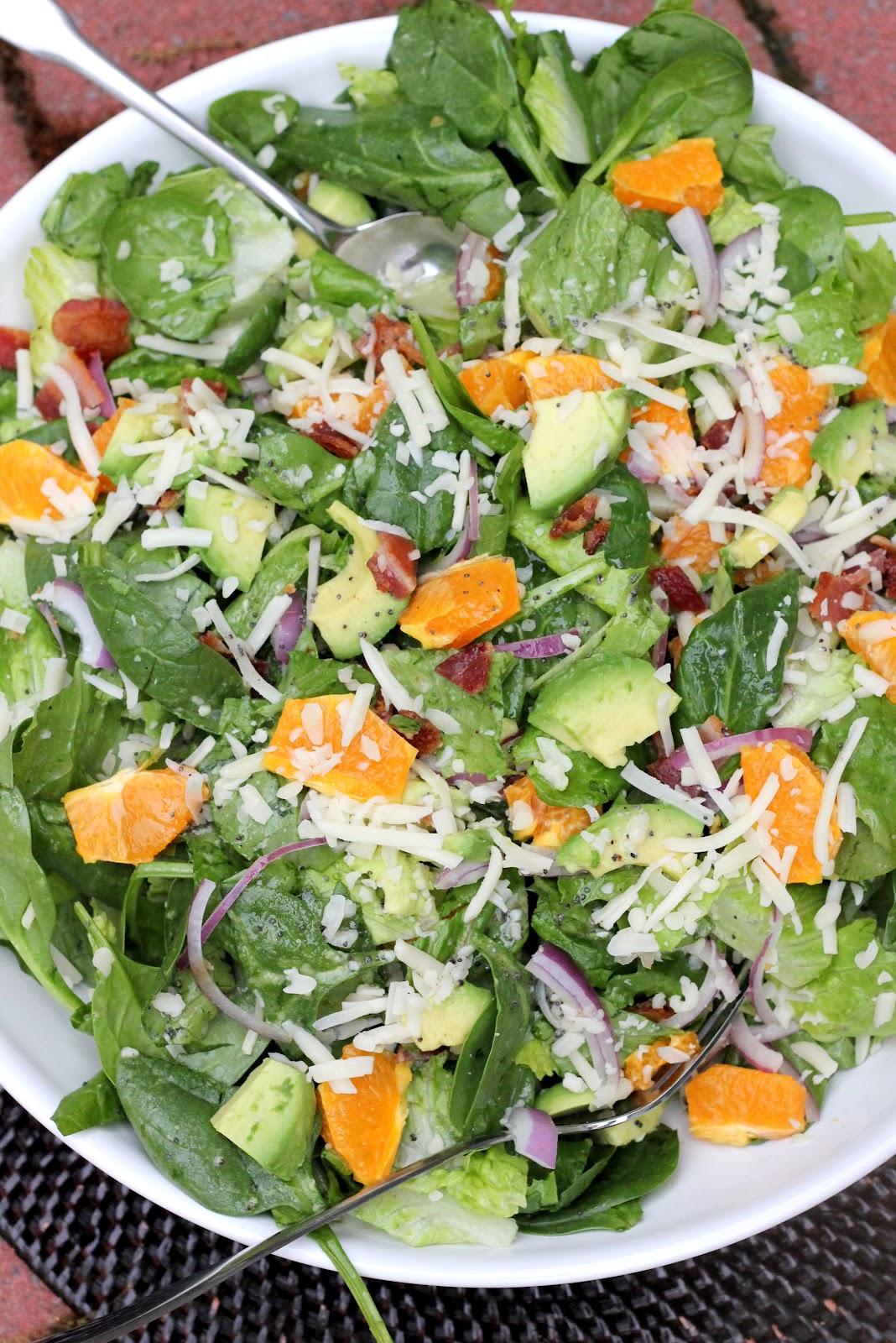 Spinach Mandarin Poppy Seed Salad | A Hint of Honey