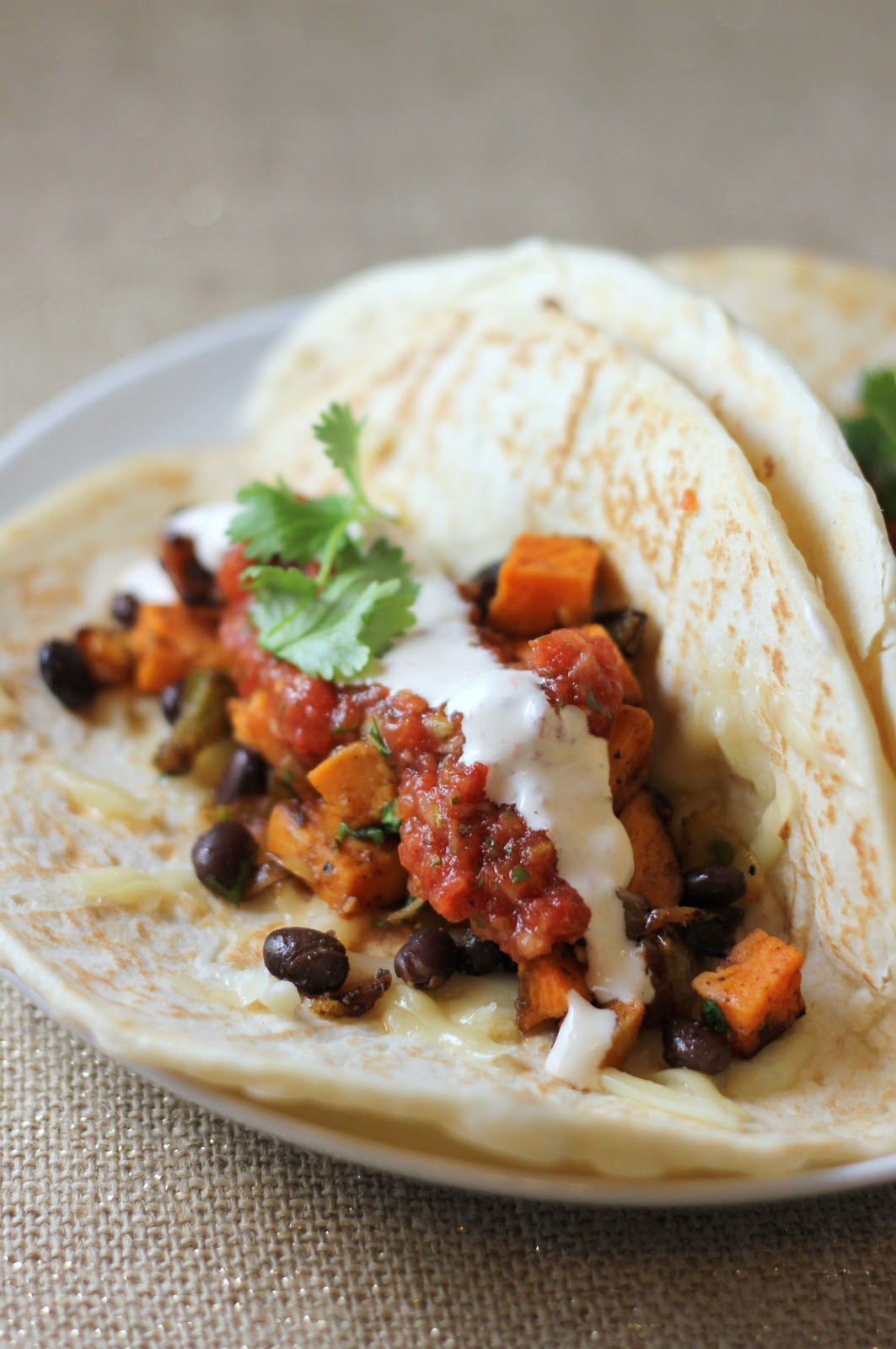 Roasted Sweet Potato and Black Bean Tacos | A Hint of Honey