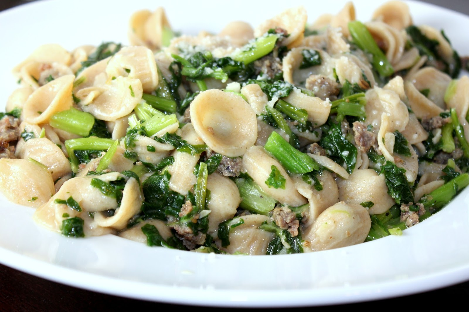 Orecchiette with Sausage and Broccoli Rabe | A Hint of Honey