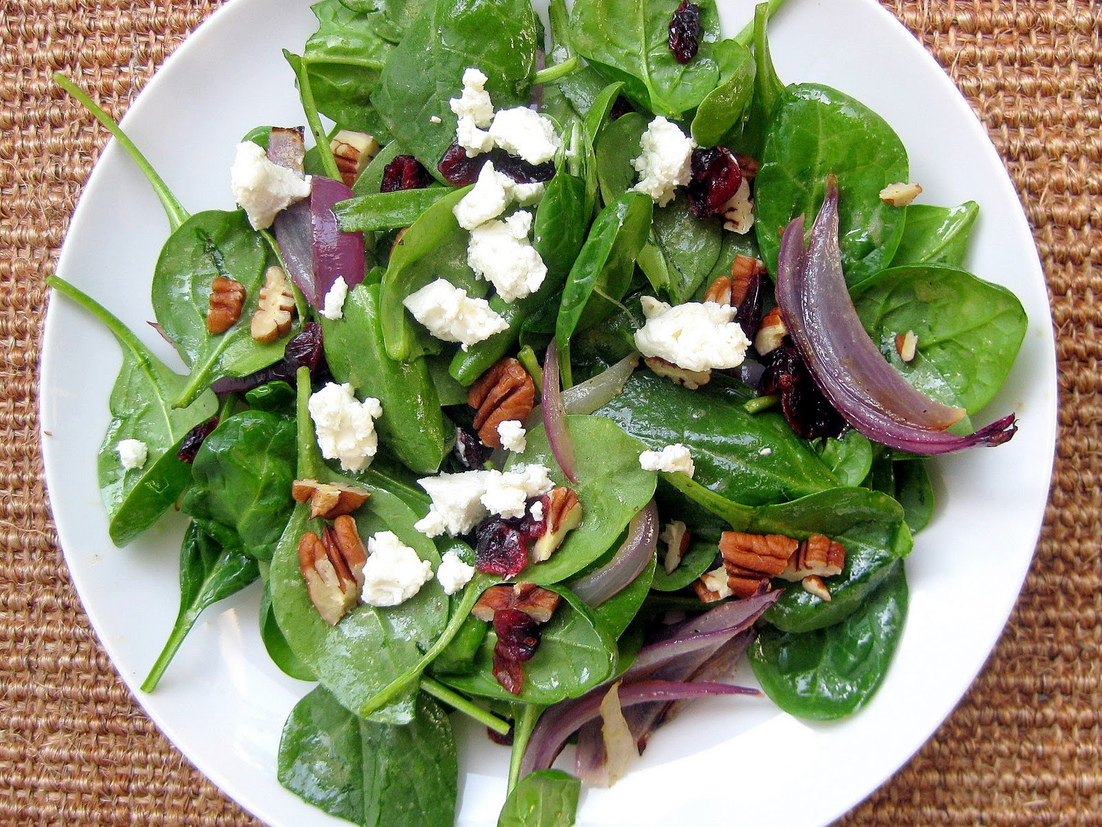 Roasted Red Onion, Goat Cheese and Spinach Salad with ...