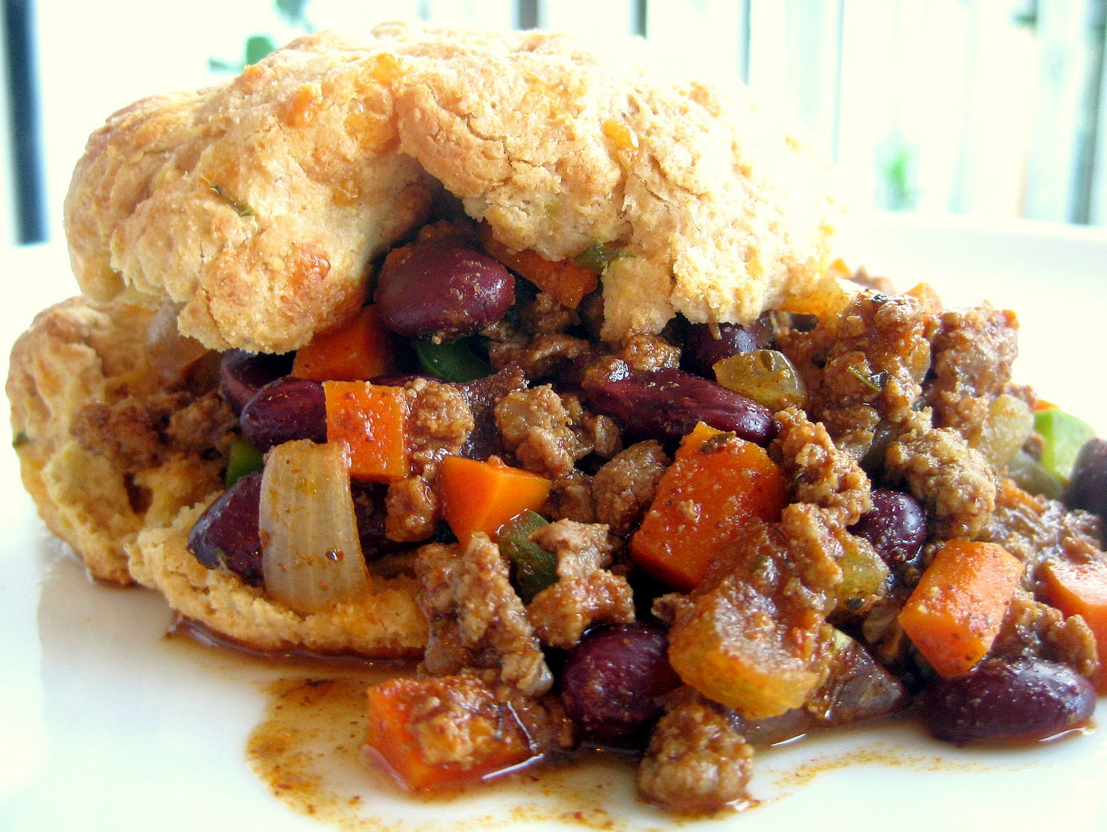 Chili Con Carne With Cheddar Jalapeno Biscuits A Hint Of Honey