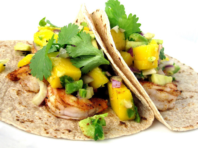 Grilled Chipotle Shrimp Tacos with Mango Avocado Salsa   A Hint of ...