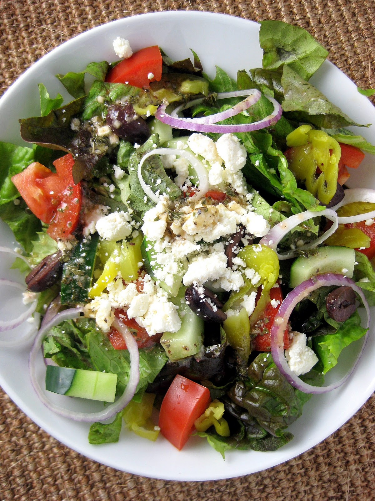 Tossed Greek Salad with Greek Vinaigrette | A Hint of Honey
