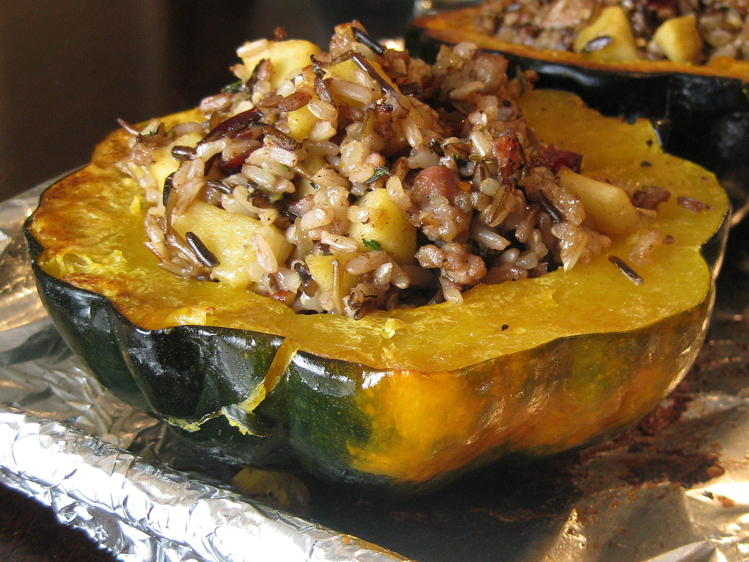 Sausage, Apple, and Wild Rice Stuffed Acorn Squash | A ...